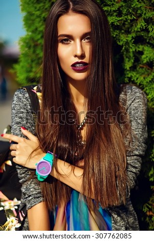 Fashion funny  glamor stylish sexy smiling  beautiful  young woman model in hipster summer clothes  in the street  - stock photo