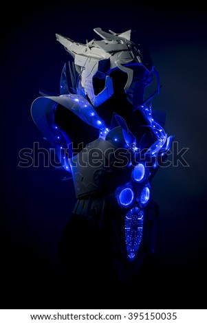 fashion galaxy, robotic spacesuit with blue lights and transparent sheets, futuristic armor