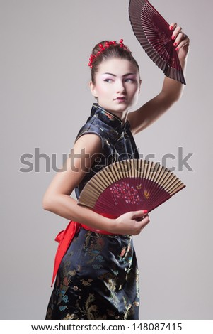 Fashion geisha in studio