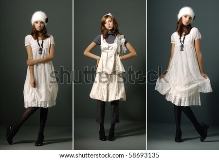 fashion girl full length in white dress, studio shot, collage - stock photo