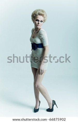 Fashion girl in a dress with a belt and shoes - stock photo