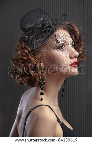 fashion girl in a vintage hat