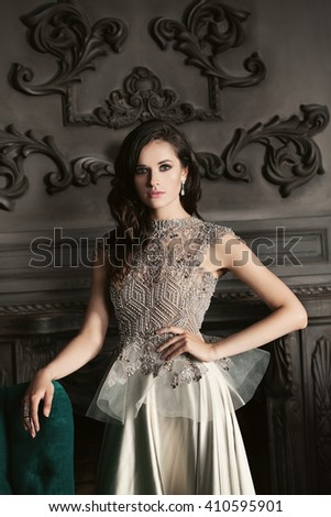Fashion Girl in Luxury Evening Gown