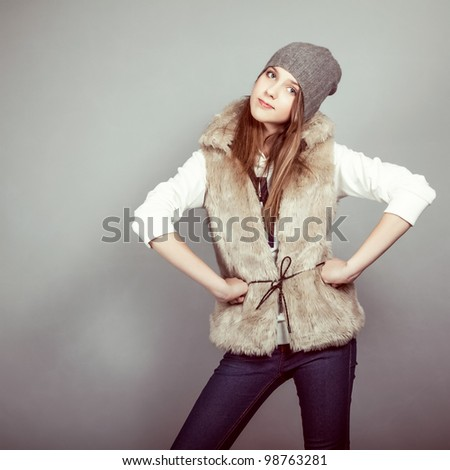 fashion girl in winter clothes - stock photo