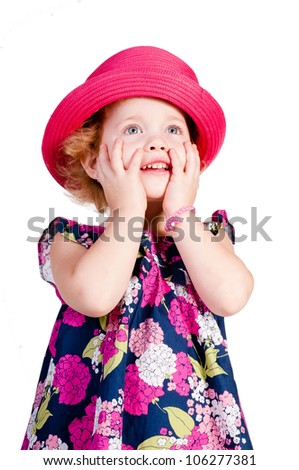 Fashion girl looks forward, a big pink hat - stock photo