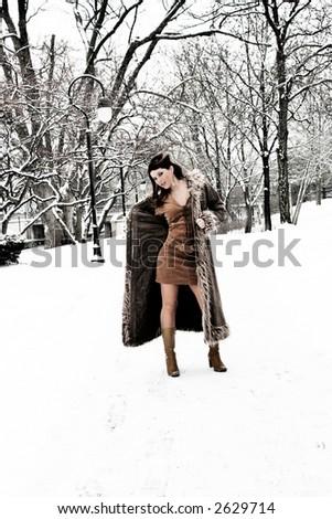 fashion girl on snow - stock photo