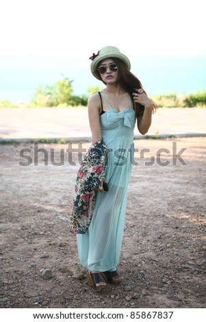 fashion girl on vacations at tropical beach - stock photo