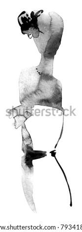 Fashion girl silhouette - stock photo
