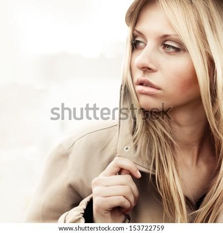 Fashion girl urban style portrait outdoor - stock photo