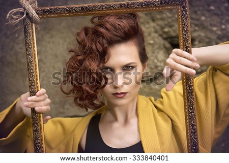 Fashion girl with bag that is see through frame
