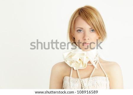Fashion girl with bob haircut - stock photo