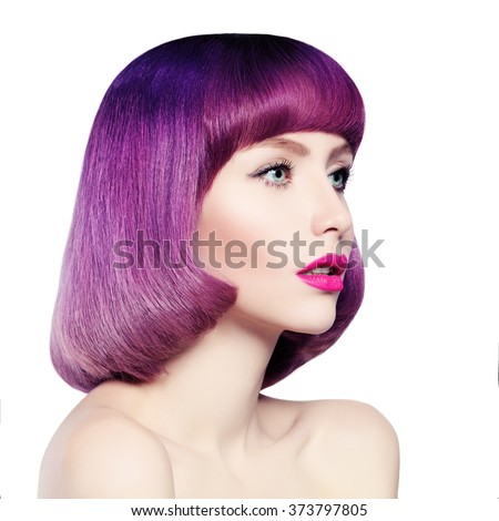 Fashion Girl with Colored Hair Isolated - stock photo