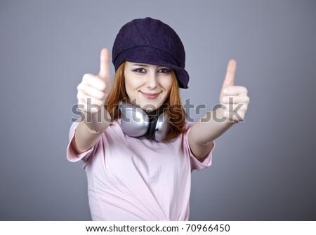 Fashion girl with headphone. - stock photo
