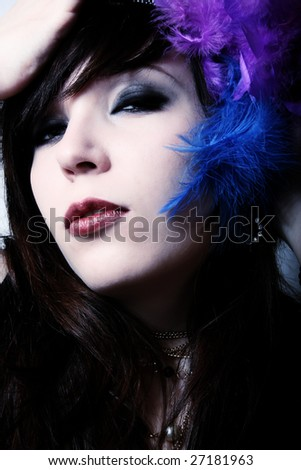 fashion girl with plumes in dream