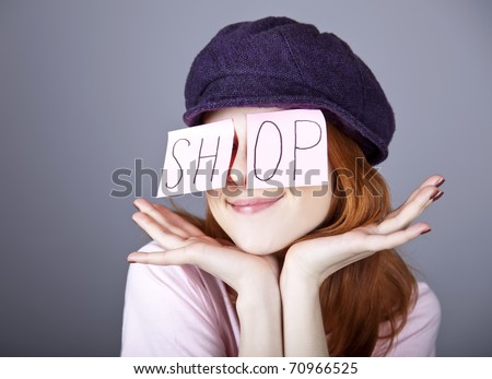 "Fashion girl with ""SHOP"" word on eyes."