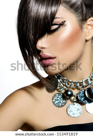 Fashion Glamour Beauty Girl With Stylish Hairstyle and Makeup. Fringe. Model Girl Portrait. Trendy Hair Style. Haircut. Glamour Girl  - stock photo