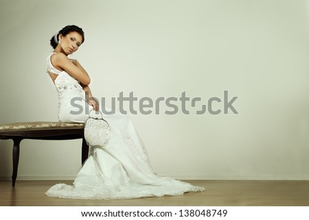 Fashion glamour bride in evening gown, beauty portrait - stock photo
