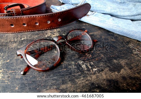 Fashion glasses style plastic-framed on wood board