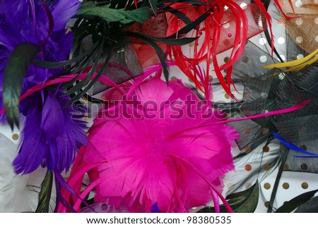 Fashion hair accessories and brooches made of colorful feather - stock photo
