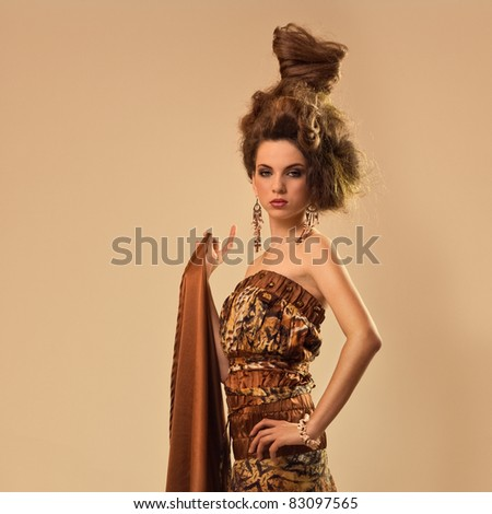 fashion hair attractive young girl model - stock photo