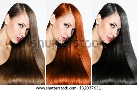 fashion hairstyle collage - stock photo