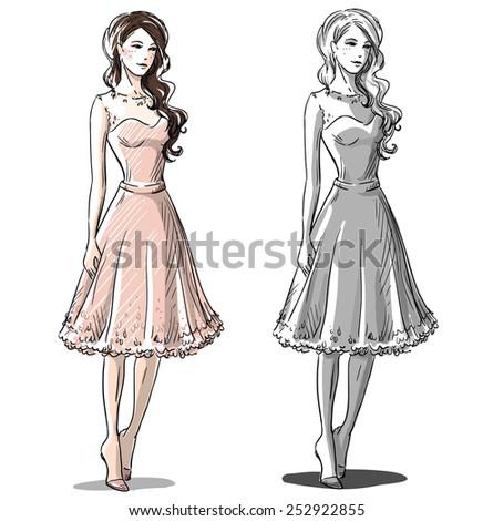 Fashion hand drawn illustration. sketch.  - stock photo