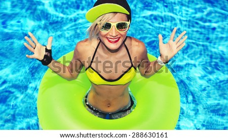 Fashion Happy Girl hot Summer party in the pool - stock photo