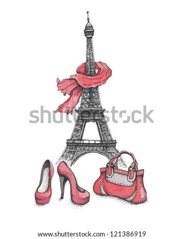 Fashion illustration. Eiffel Tower, shoes and handbag - stock photo