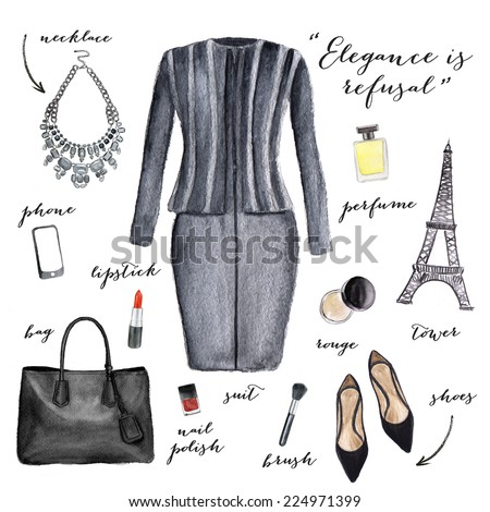 Fashion illustration. Elegant style. - stock photo