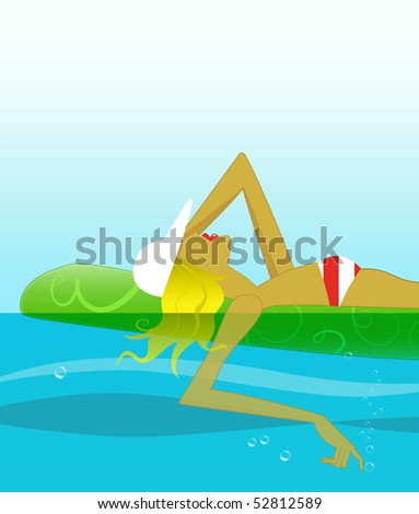 Fashion illustration of a blonde girl on a pool float