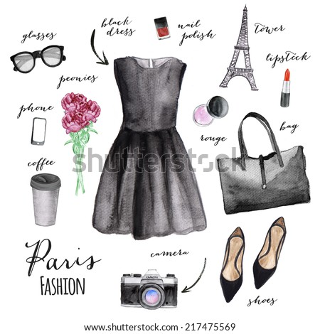 Fashion illustration. Paris style. - stock photo