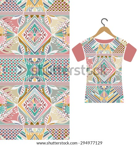 Fashion illustration, women's t-shirt on a hanger, geometric and floral seamless pattern, ethnic ornament, isolated elements for invitation or greeting card design. Raster version - stock photo