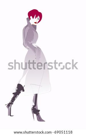 Fashion illustration young adult girl - fashionable concept. - stock photo