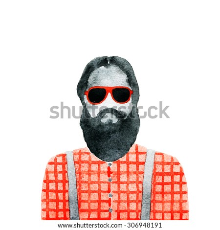 Fashion illustration. young man with glasses. abstract watercolor illustration - stock photo