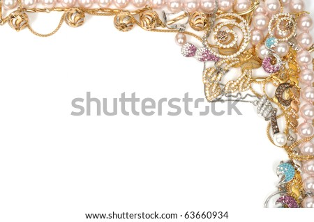 Fashion jewelry frame, isolated on white background - stock photo