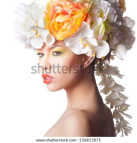 Fashion lady in blue dresswith flower wreath