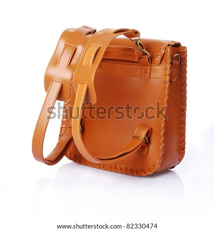 fashion leather schoolbag isolated - stock photo