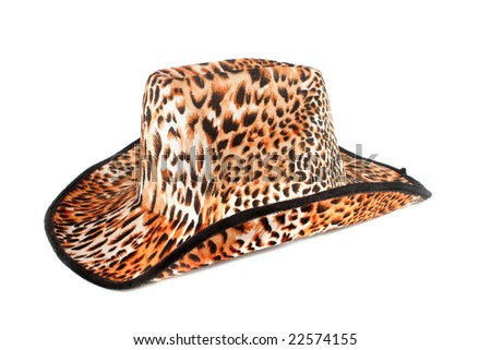 fashion leopard print hat on white background