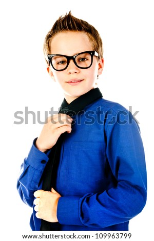 fashion little boy with glasses - stock photo