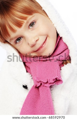 Fashion little girl studio series over white - stock photo