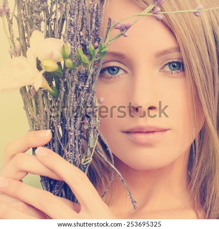 Fashion look woman with natural makeup - stock photo