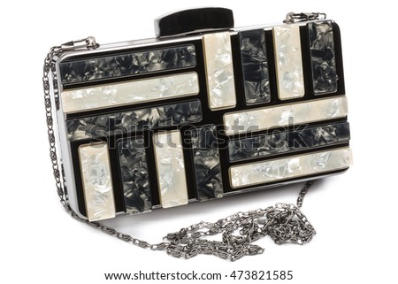 Fashion luxury clutch bag, black and white