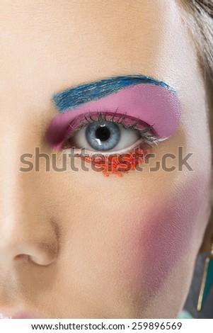 Fashion make up - eye close up - stock photo