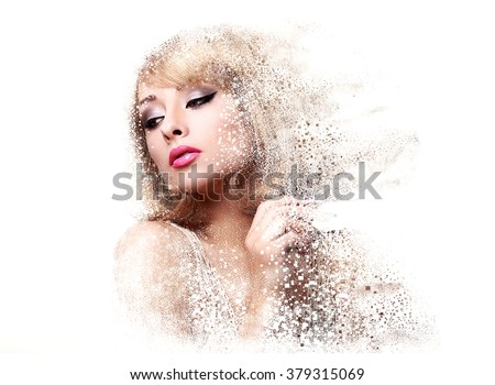 Fashion makeup woman with pink lipstick and pixel dispersion effect. Art closeup portrait isolated on white background - stock photo