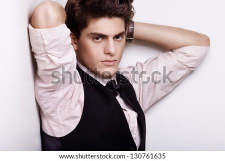 fashion male brunette. studio - stock photo