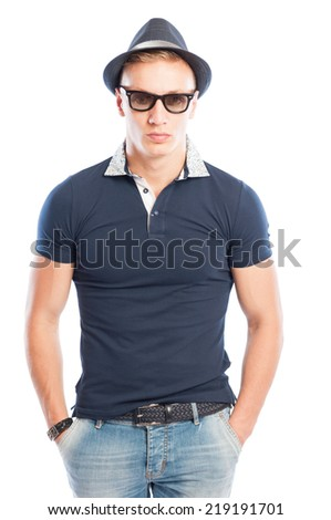 Fashion male model wearing short jeans, blue shirt, sunglasses and hat
