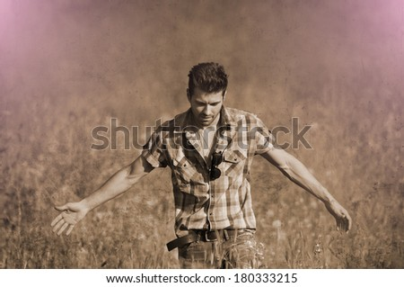 Fashion male retro sepia portrait  - stock photo