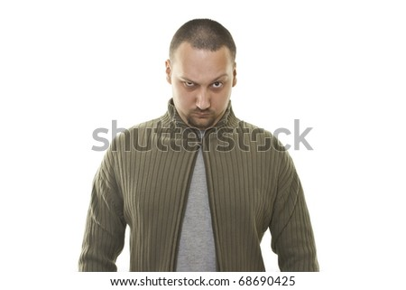 fashion man in a sweater with a broken zipper - stock photo