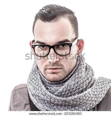 fashion man portrait - isolated - stock photo