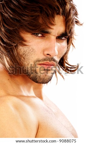 fashion man portrait wearing a wig isolated over a white background